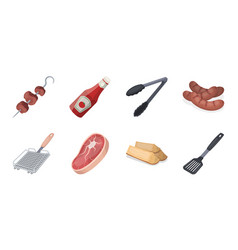Barbecue and equipment icons in set collection for vector