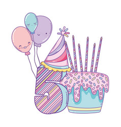 Birthday cake with balloons and number vector