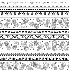 Black and white tribal pineapples vector