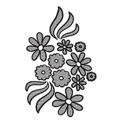 Black lace flower applique vector