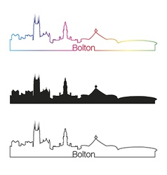 Bolton skyline linear style with rainbow vector image