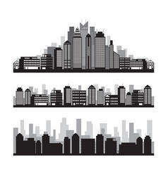 Buildings and skyscrapers silhouette set vector