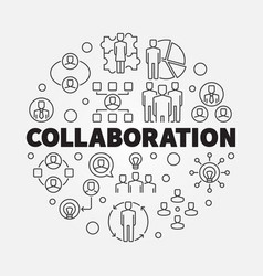 Business collaboration round thin line vector