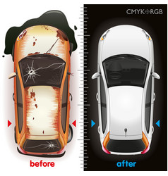 Car before repair and after vector