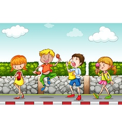 Children eating and drinking on the sidewalk vector