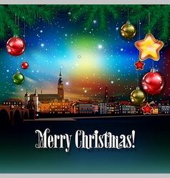Christmas greeting with panorama of Heidelberg vector