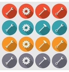 Cogwheel hammer wrench key icons set Repair fix vector image