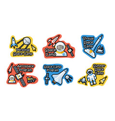 collection space camp logo badge patch vector image