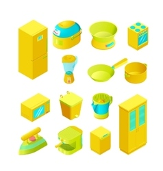 Colorful isometric home appliances vector image