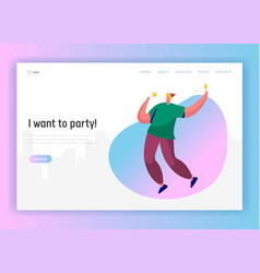 corporate party landing page template happy man vector image