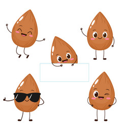 Cute happy brown almond character set vector