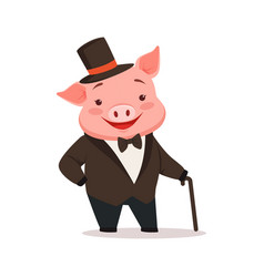 Cute happy pig dressed up in black tuxedo and hat vector