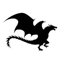 Dragon silhouette a black dragon on a white vector