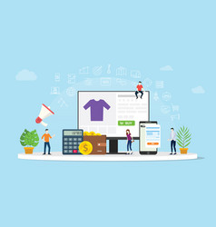 e-commerce online shopping with people buy with vector image