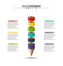 Education infographic with 6 options vector
