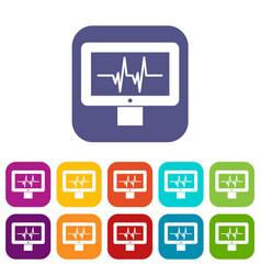 Electrocardiogram monitor icons set vector