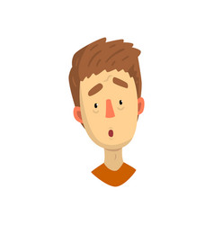 Emotional face young man surprised facial vector