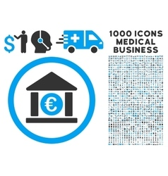 Euro Bank Icon with 1000 Medical Business vector image