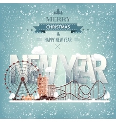 Ferris wheel Winter carnival Christmas new year vector