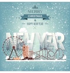 Ferris wheel winter carnival christmas new year vector