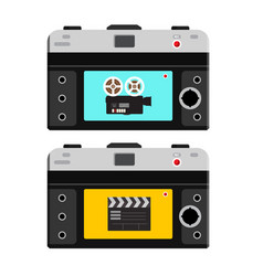 film camera and clapper board on back side of vector image