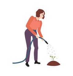 flat farmer woman in professional uniform vector image
