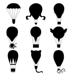 flat hot air-balloons collection vector image