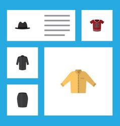 Flat icon clothes set of banyan t-shirt panama vector