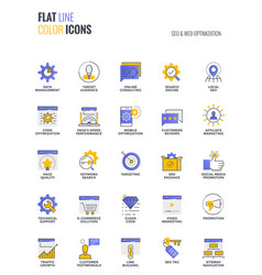 Flat line multicolor icons design-seo and web vector