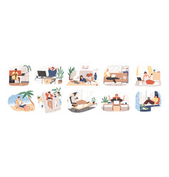 freelance people work in comfortable conditions vector image