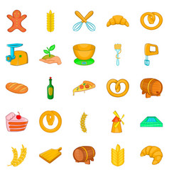 Fresh bakery icons set cartoon style vector