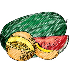 Fresh fruit set vector image
