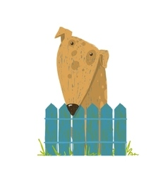 Fun Farm Cute Dog Sitting over Fence vector