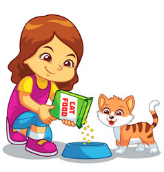 Girl feeding her pet cat vector