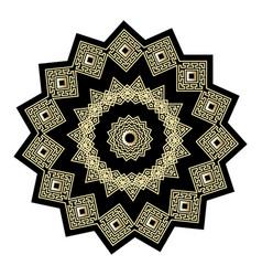 gold and black ornate greek mandala pattern vector image