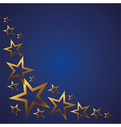 Gold stars on a blue background vector
