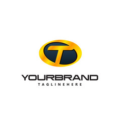 Golden letter t logo curved oval shape auto guard vector