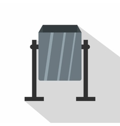 Grey metal dust bin icon flat style vector