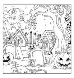 halloween background cemetery and crypts vector image