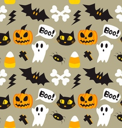 Halloween cartoon seamless background vector image