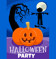 halloween holiday design with jack lantern pumpkin vector image