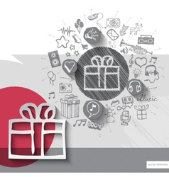 Hand drawn gift box icons with icons background vector image