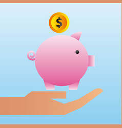 Hand holding piggy bank coin family protection vector