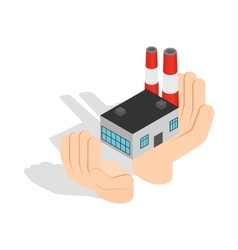 Hands holding a chemical plant icon vector image