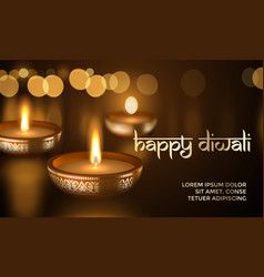 happy diwali gold candle light indian greeting vector image