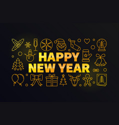 happy new year golden vector image vector image