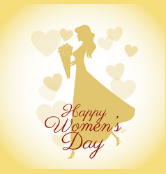 happy womens day card-silhouette girl yellow vector image