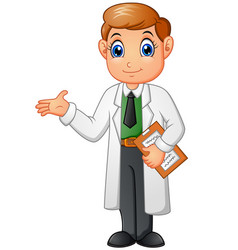 Happy young doctor cartoon isolated on white backg vector