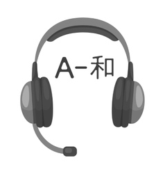 Headphones with translator icon in monochrome vector image