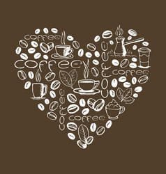 heart shape filled coffee doodles vector image